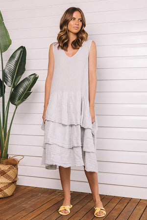 Dress Vicenza W Ruffle Pewter