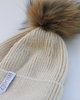 The Jodie Beanie with Fur Pom Pom Beige