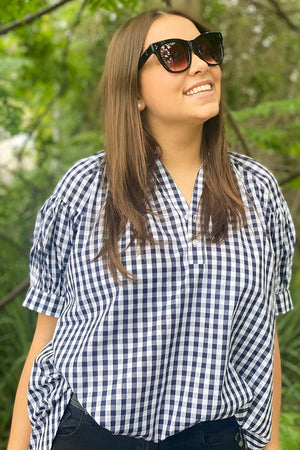 Short Sleeve Kell Gingham Shirt Navy