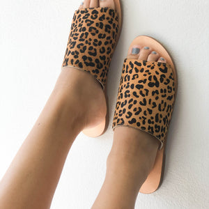 Skye Slide Tan Leopard
