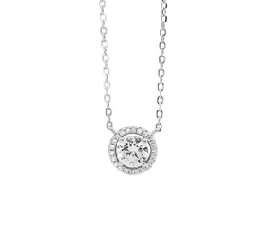Ss Wh Cz 6Mm Solitaire W Halo Necklace Rhodium