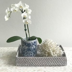 Rattan Rectangle Tray Grey Wash Small