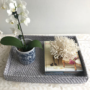 Rattan Rectangle Tray Grey Wash Large