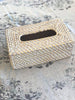 Rattan Tissue Box Rectangular White Wash