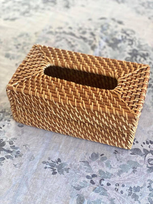 Rattan Tissue Box Rectangular Natural