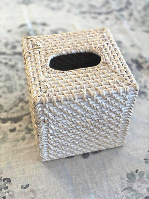 Rattan Tissue Box Square White Wash