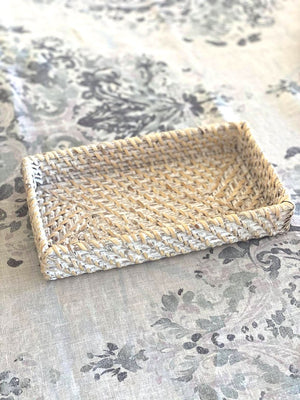 Rattan Vanity Tray White Wash Large