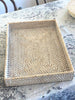 Rattan Rectangle Tray White Wash Large