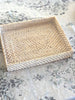 Rattan Rectangle Tray White Wash Small