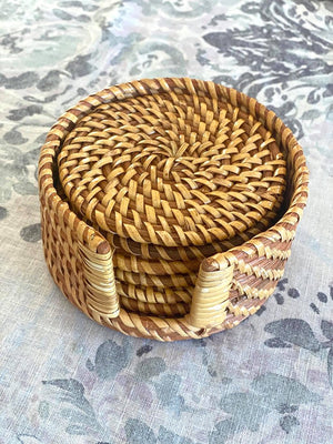 Rattan Coaster Set Natural