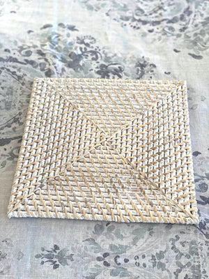 Rattan Square Placemat White Wash