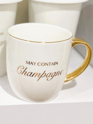 May Contain Champagne Mug White 350ML