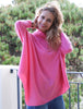 Turtle Neck Poncho Jumper Bright Pink