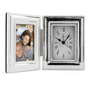 Silver Plate Photo Frame and Clock Beaded