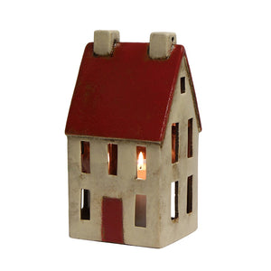 Alsace Tea Light Tall Chalet Red White