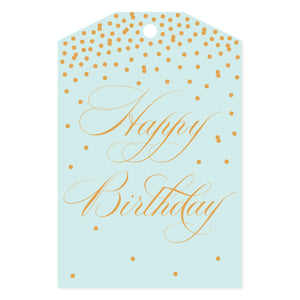 Happy Birthday Confetti Gift Tag White