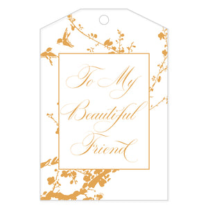 To My Beautiful Friend White Gift Tag