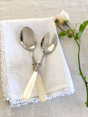 Verona Salad Server 2 PCS Ivory Pearl