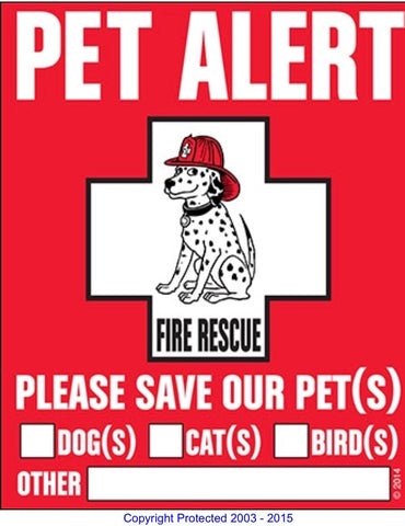 Pet alert window decal