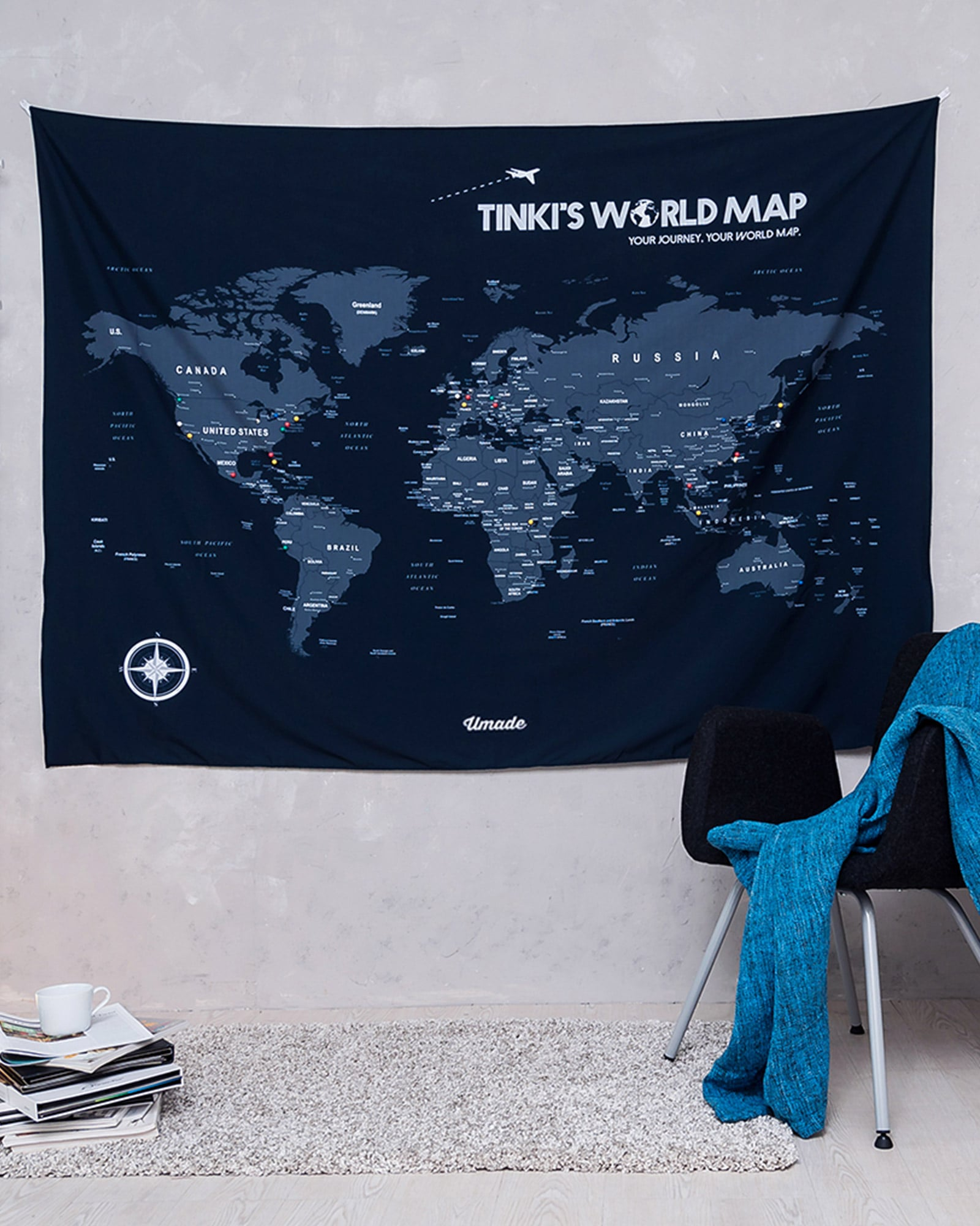 UMade - World Map -Navy Blue