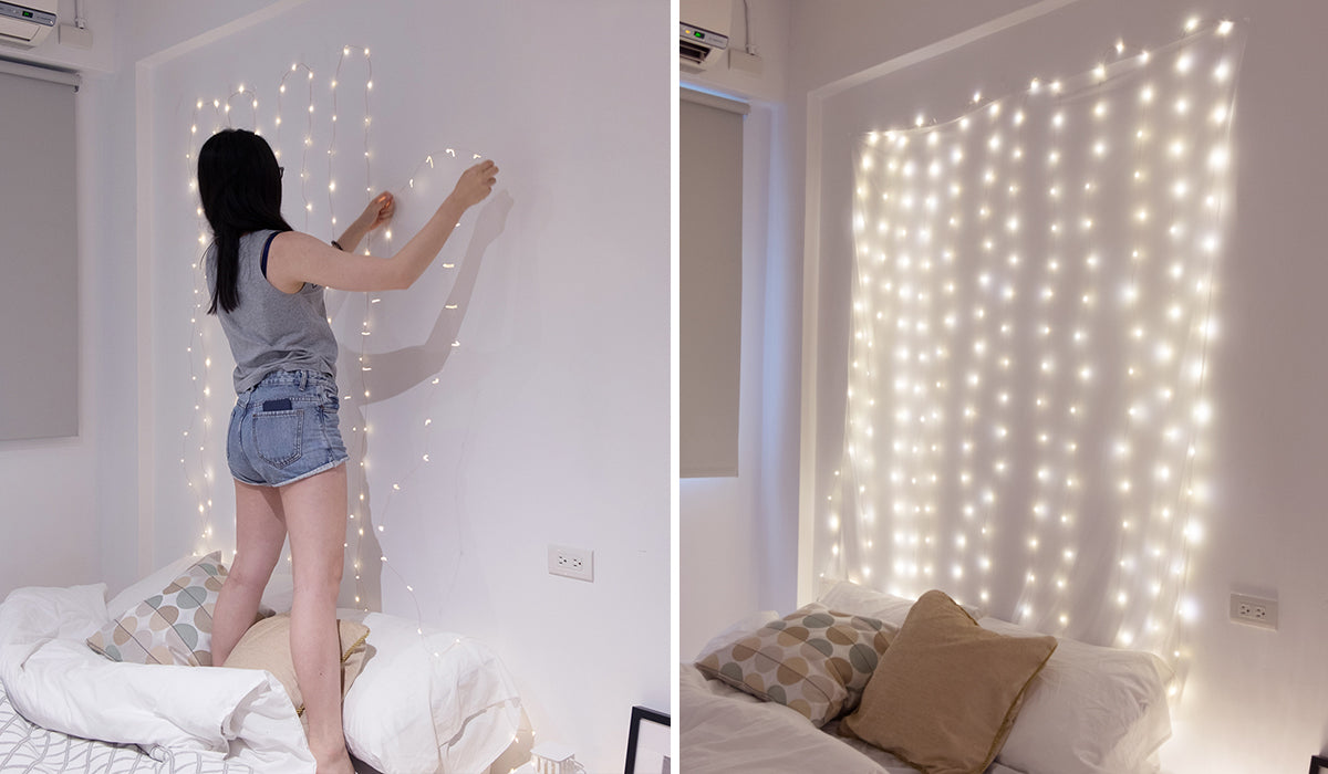 Easily set a fairy light wall in your cozy beautiful room