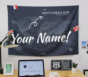 UMade; personalize your own world map with name/ motto is. Dark gray UMap is unique bithday gift/ personalized gift for friends.