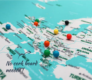 UMade; mark the visited places with colorful push pins with backing clips on the UMap travel map of the world. No cork board needed.