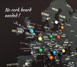 UMade; pin your travels with special color push pins that won't fall off on the UMap map of the world, detailed with countries & many major cities.