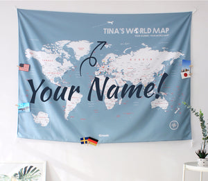 UMade; customize your world map with name or motto on Bluish Gray UMap.It's unique gift for travel lovers, friends & family and cool home decor item.