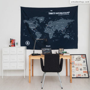 UMade, blue personalized UMap, a political world map with you name matches the best to your study room decor.