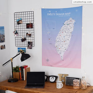 UMap。Taiwan Map - Rose Quartz & Serenity