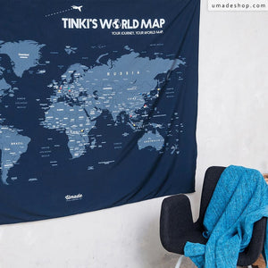 UMade, UMap, Navy Blue personalized map of the world with name or motto is detailed with countries & cities. Classic and cool wall decor for living room/ bedroom/ office.