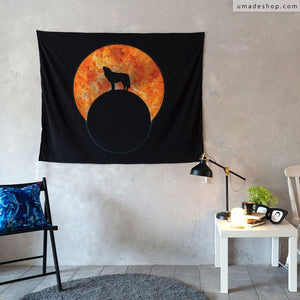 ★Wall Tapestry★ Wolf Moon  - Barruf