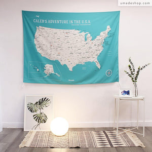 UMade, UMap, Personalised Large USA Map, map of the USA, custom quote U.S. map, Personalised map, Push pin USA map, Travel Map ideas, gift for kids, America map