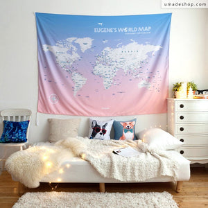 UMade, large size pink UMap, personalized world map (wall hanging) with detailed country & city names is perfect wall decor for living room/ bedroom/ cafe.