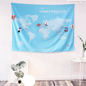 UMade; UMap personalized light blue map of the world ( wall hanging) brightens up the room and shows your travel footprints!