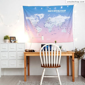 UMade, UMap, travel map, rose quartz serenity, rose quartz, world map, room decor, home decor, dorm decor, tapestry, wall art, decoration idea, gift for her, gift women, travel gift, travelling away, room makeover