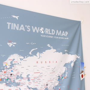 UMade; Large Bluish Gray UMap personalized world map decorates perfectly the wall in the living room and shows off your travel plans.