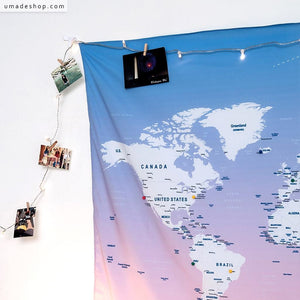 UMade; Decorate your room with travel photos on the pink UMap personalized world map to keep the beautiful memories. Best custom gift for her/ friends.