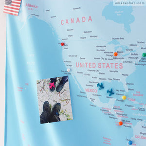 UMade; UMap travel map is unique & useful gift for travel lovers/ friends /kids. Mark the places visited with push pins and decorate with travel photos to keep the beautiful memories.
