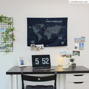 UMade, UMap, Navy Blue personalized map of the world with name or motto is detailed with countries & cities. Classic and cool wall decor for study/ office.