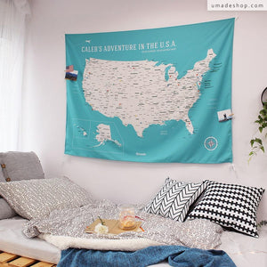 UMade, UMap, Personalised Large USA Map, map of the USA, custom quote U.S. map, Personalised map, Push pin USA map, Travel Map ideas, gift for kids, America map, lake green, green