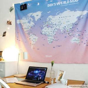 UMade; decorate pink UMap personalized world map with travel photos to keep the beautiful memories and set your next destinations. Best desk decor and personalized gift for her/ friends.