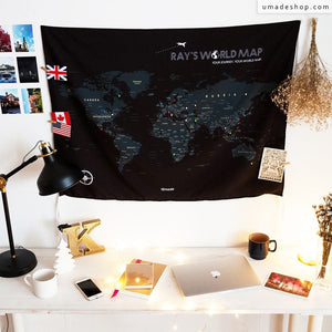 UMade; UMap black world map is perfect for dark color lovers! Personalized with your name or motto, the map of the world is cool & modern desk decoration.