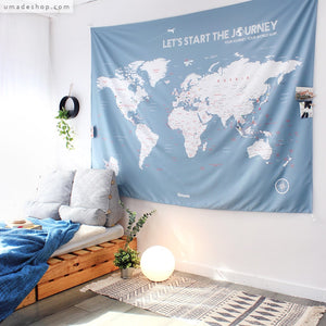 UMade; brighten up the room with UMap bluish gray personalized world map. Simple & Scandinavian style decor for living room/ bedroom.