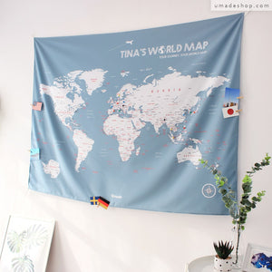 UMade; Bluish Gray world map brightens up the space. Best wall art for living room/ bedroom.