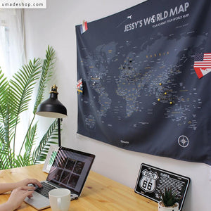 UMade; Having UMap personalized world map as desk decoration keeps you motivated to achieve your goals and travel plans.