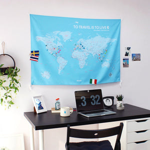 UMade; UMap personalized light blue map of the world ( wall hanging) matches perfectly to your desk decor and shows all your travel plans!
