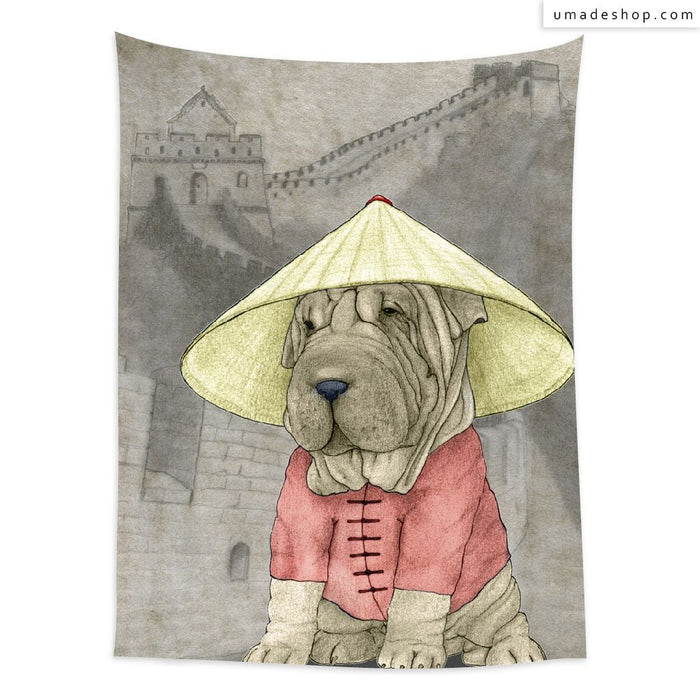 ★Wall Tapestry★  Shar Pei With The Great Wall - Barruf