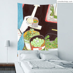 ★Wall Tapestry★ Sunday 02-Make your own balcony with meaty plants(A) - Pony Pei